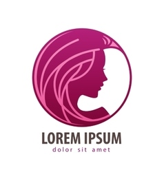 Beautiful girl logo design template vector