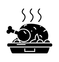 chicken dish - roast - grilled icon vector image