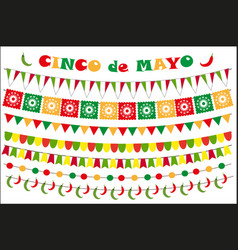 cinco de mayo celebration set of colored flags vector image vector image