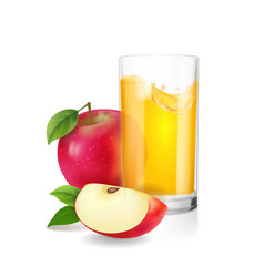 glass of apple juice with slices of red apple vector image