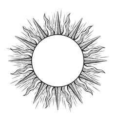 hand drawn etching style frame in a shape of sun vector image vector image