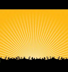 rave crowd silhouette vector image vector image