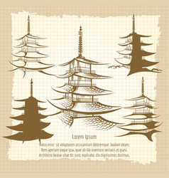 asian pagoda vintage poster vector image