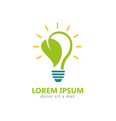 bio energy leaf light bulb logo vector image