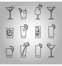 Cocktails line icons set vector image
