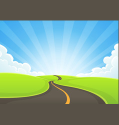 country road snaking with blue sky and sunbeams vector image vector image