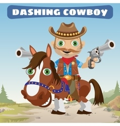Dashing Cowboy rider on a stallion on a Wild West vector image