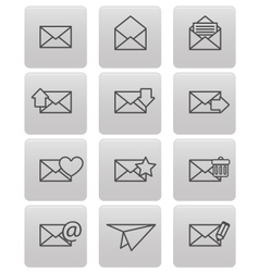 Envelope icons for email on gray squares vector image