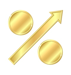 Growing percentage sign with gold coins vector image