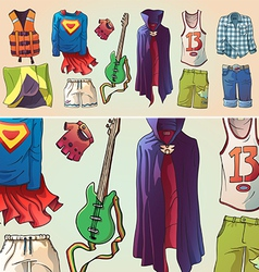 Some Original Clothes and the Guitar vector image vector image