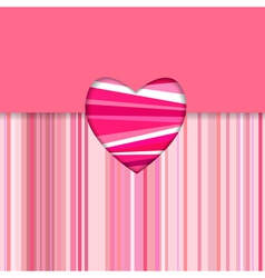 valentine striped card horizontal vector image vector image