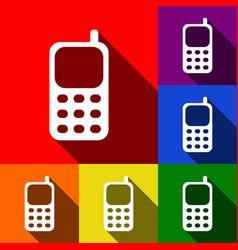 cell phone sign set of icons with flat vector image