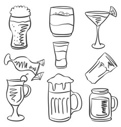 Doodle of drink hand draw collection vector