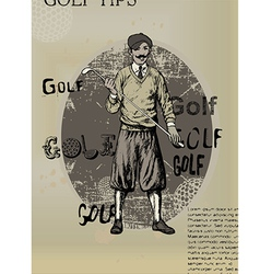 golfing man old newspaper vector image vector image
