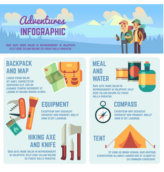outdoors adventure infographics with hiking vector image vector image