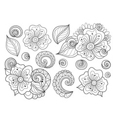 set of beautiful monochrome flowers and leaves vector image