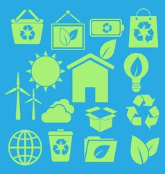 Set of ecology icons on blue background vector image