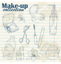 Set of make-up object collection on notebook paper vector image vector image