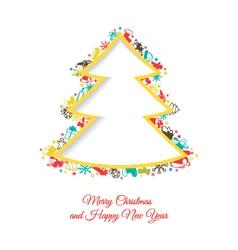 Abstract Christmas tree made of Christmas items vector image vector image