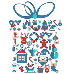 Christmas Gift with Christmas icons vector image