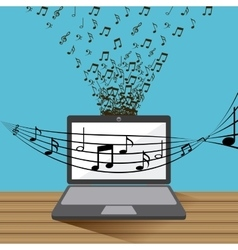laptop and music design vector image