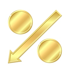 Percentage sign with gold coins vector image vector image