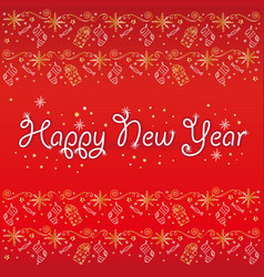 postcard happy new year red snowflakes vector image
