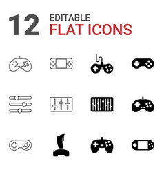 12 console icons vector image