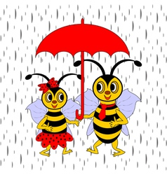 A couple of funny cartoon bees under red umbrella vector image