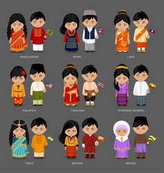 Asian people in national dress vector