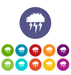 Atmospheric electricity icons set color vector