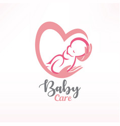 Baby sleeping in hands baby care stylized symbol vector