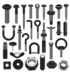 Basic Screws and Nuts Collection vector