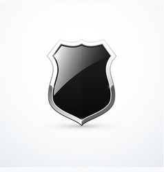 black and chrome shield icon vector image