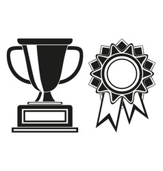 black and white goblet and rosette award set vector image