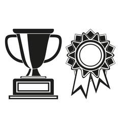 Black and white goblet and rosette award set vector