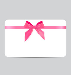 Blank gift card template with pink bow and ribbon vector