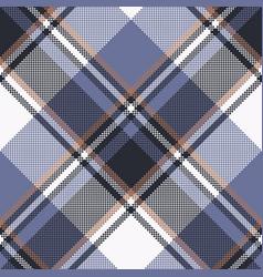 Blue check pixel tartan seamless fabric texture vector