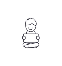 boy with a tablet line icon sig vector image