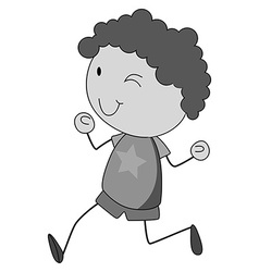 Boy with curly hair running vector