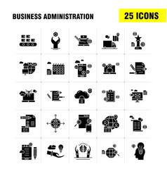 Business administration solid glyph icons set vector