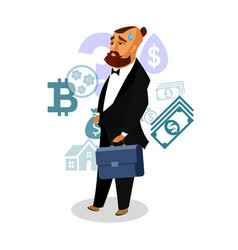 businessman with briefcase worrying vector image