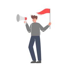 businessman with flag shouting through loudspeaker vector image