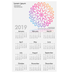 calendar design for 2019 simple white background vector image