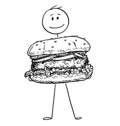 cartoon of smiling man holding big burger or vector image