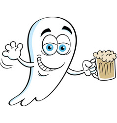 Cartoon smiling ghost holding a beer vector