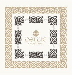 Celtic knot braided frame border ornament kit vector