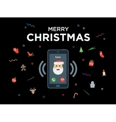 Christmas phone call from Santa Claus with vector