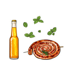 Cold beer and grilled barbequed cumberland sausage vector