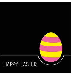 Colored Happy Easter egg White line Pink yellow vector